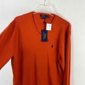 NWT Ralph Lauren V Neck Pima Cotton Sweater Orange